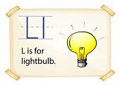 A letter L for lightbulb on a white background