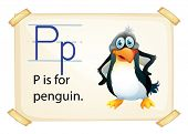A letter P for penguin on a white background
