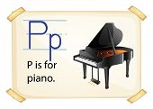 A letter P for piano on a white background