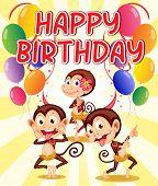 Happy birthday with a monkey theme