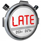 image of delinquency  - Late word on a clock - JPG