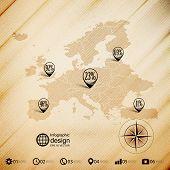 Europe map, wooden design background, infographics vector illustration