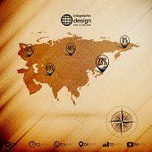 Eurasia map, wooden design background, infographics vector illustration