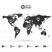 World map, wooden design texture, infographics vector illustration