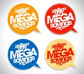 Mega savings speech bubbles set.