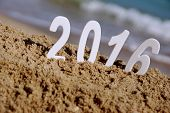 2016 New Year Numbers On The Sea Beach