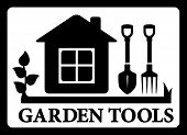 Black Frame With House And Tools For Gardening