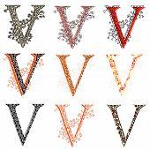 Various Combination Fishnet Letter V.