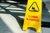A Yellow Signboard Shows Cleaning In Progress
