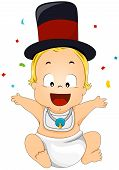 pic of new years celebration  - An Illustration of a New Year Baby with Clipping Path - JPG