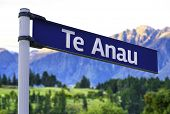 Te Anau sign on a beautiful landscape background