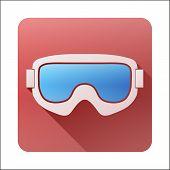 Flat icon with Classic snowboard ski goggles.