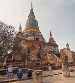Ayutthaya, Thailand - Circa November 2013: Tourists Visiting Wat