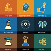 Flat Design Line Icons Of Wisdom, Knowledge, Imagination - Concept Vector