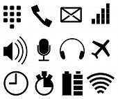 Set of simple modern icons for smartphone, tablet or web application, vector