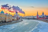 Sunset over Moscow river, Moscow