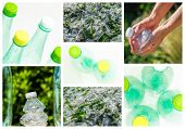 image of reprocess  - collage and composition about recycling of glass and plastic - JPG