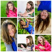 Collage Of Young Girl Playing Outdoors