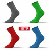 Set of different colors Realistic layout socks. A simple example. vector