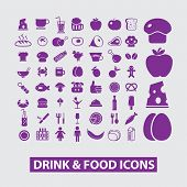 food, drink, grocery store icons, signs, illustrations, vectors set