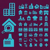 building, house, real estate icons, signs, illustrations, vectors set