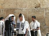 Orthodox jewish men at the wailing wall Jerusalem