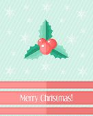 Christmas Card With Holly Berry And Red Ribbons