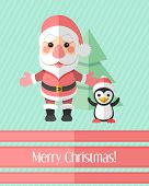 Christmas Card With Santa Claus And Penguin