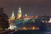 Krakow, Poland - October  11, 2014: Night View Of Royal Wawel Castle. Krakow Is Most Famous City To