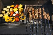 Skewers and vegetableq on barbecue grill, close-up