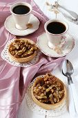 Two Cups Of Coffee And A French Dessert, Walnut Caramel Tart