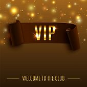 VIP background with realistic brown curved ribbon