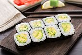 Sushi rolls with avocado
