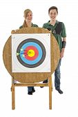 pic of longbow  - Young girl and boy standing behind the bull - JPG