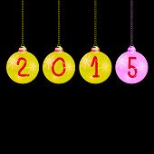 New Year 2015 Balls Color Vector