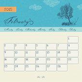 Calendar for February 2015 starting Monday, vector calendar set