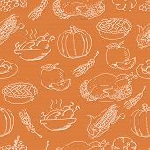 Thanksgiving Seamless Pattern Sketch Doodle On Orange Background. Vector Illustration