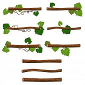 Set of branches. Vector isolated objects for platform games or graphics.