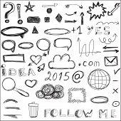 Communication, social media, internet doodles vector. Hand drawn web design