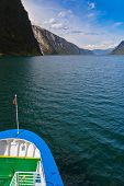 Ship and fjord Sognefjord - Norway - nature and travel background