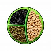 Chick-pea, Mung Bean And Black Lentils Isolated On White Background.
