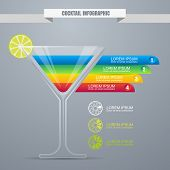 Cocktail Concept Infographic Design Template. Cocktail Party Or Website Background. Colorful Drinks.