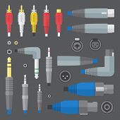 various audio connectors and inputs set