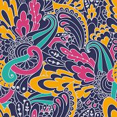 Hand-drawn Doodle Waves Floral Pattern, Abstract Colorful Leaves And Flowers.