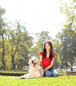 Girl sitting in park with her pet dog shot with tilt and shift lens