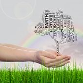 Concept conceptual black text word cloud tree man or woman hand on rainbow sky grass background, metaphor to nature, ecology, green, energy, natural, life, world, global, protect or environmental