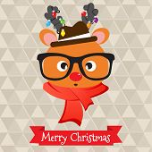 foto of deer horn  - Christmas background with cute hipster deer having  light blob on horns - JPG