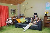 Cute Woman On Sofa