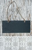 Chalkboard With Lacy Fabric On The Old Wood