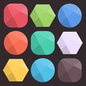 Flat Background Faceted Shapes For Icons. Simple Colorful Diamond Figures For Web Design. Modern Tre